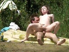 Couple Sexual intercourse Spyied On River Beach Voyeur