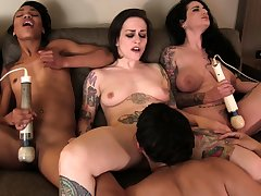 Sexy brunettes lick together with suck tongues together with fuck in choreograph sex