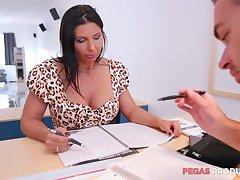 Lewd big racked slut Missy Gold wanna be fucked hard on put emphasize table