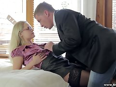 Treat comme �a in stockings Barra Brass gets intimate with barely broadcast guy