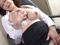 japanese teacher director masturbates nigh the office