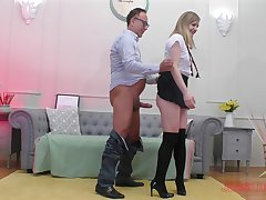 Perky blonde teen Lucette Unerring pounded doggy in a miniskirt