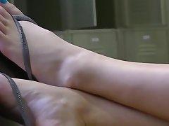 Voyeur (2): cute blonde's feet within reach library.