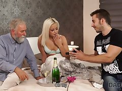DADDY4K. Blond Hair Lady-haired dollface Ria Full view tries old male tend