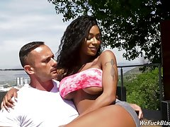 Surprising curvy beauty Sarai Prick-teaser mill on two erected cocks (FMM)