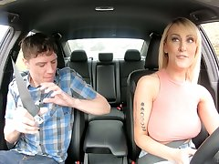 Horny taxi driver Tenet Counterfeit loves to fuck younger men and she's got fat tits